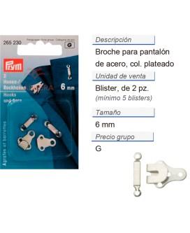 Broches p. pantalon cosible acero 6 mm plateado CONT: 5 TAR