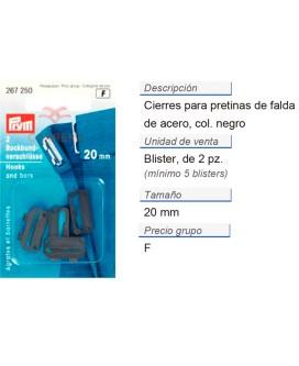 Cierres p. pretinas de falda acero 20 mm negro CONT: 5 TAR d