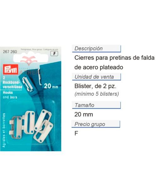 Cierres p. pretinas de falda acero 20 mm plateado CONT: 5 TA