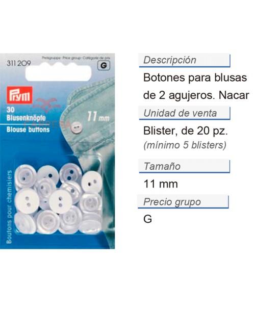 Botones p. blusas 11 mm nácar CONT: 5 TAR de 20 pz