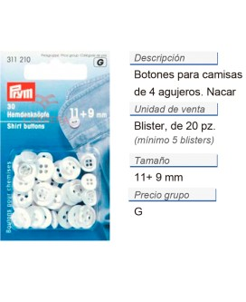 Botones camisas plást. 11 + 9 mm nácar CONT: 5 TAR de 20 pz