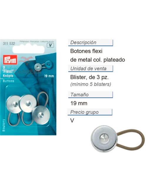 Botones flexi 19 mm CONT: 5 TAR de 3 pz
