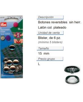 Botones revestibles 15 mm plateado sin herram. CONT: 5 TAR d