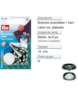 Botones revestibles 15 mm plateado con herram. CONT: 5 TAR d
