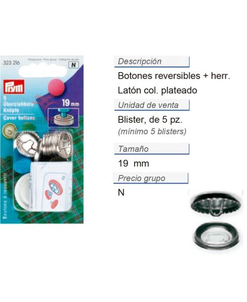 Botones revestibles 19 mm plateado con herram. CONT: 5 TAR d