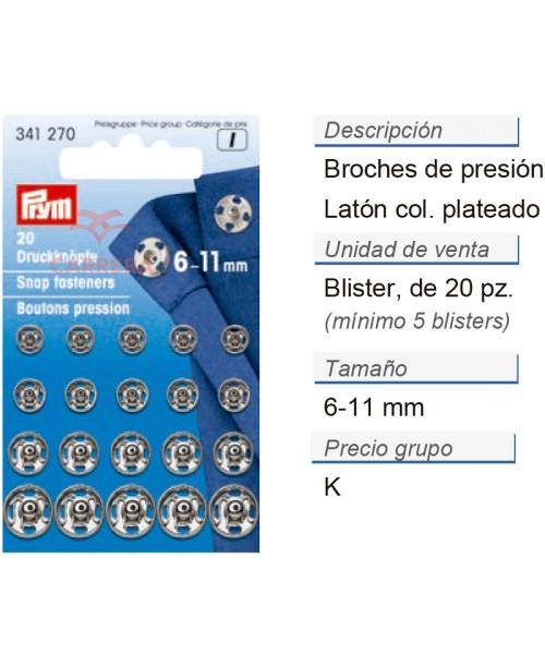 Broches de presión latón 6-11 mm plateado CONT: 5 TAR de 20