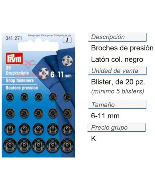 Broches de presión latón 6-11 mm negro CONT: 5 TAR de 20 pz
