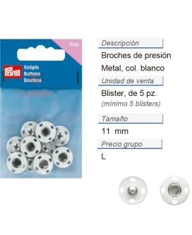 Broches de presión metal 14 mm blanco CONT: 3 TAR de 5 pz