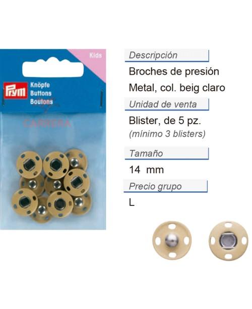 Broches de presión metal 14 mm beige claro CONT: 3 TAR de 5
