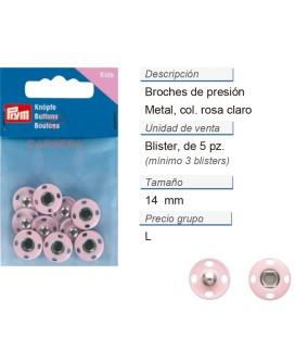 Broches de presión metal 14 mm rosa claro CONT: 3 TAR de 5 p
