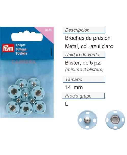 Broches de presión metal 14 mm azul claro CONT: 3 TAR de 5 p