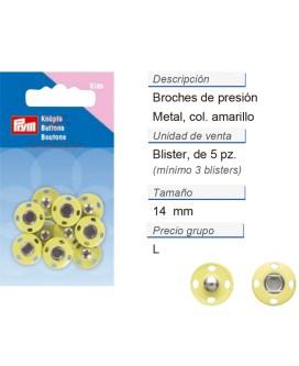 Broches de presión metal 14 mm amarillo CONT: 3 TAR de 5 pz