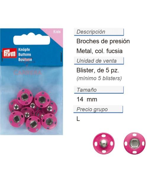 Broches de presión metal 14 mm fucsia CONT: 3 TAR de 5 pz