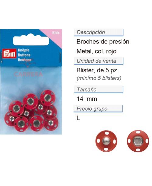Broches de presión metal 14 mm rojo CONT: 3 TAR de 5 pz
