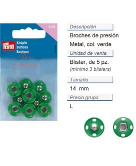Broches de presión metal 14 mm verde CONT: 3 TAR de 5 pz