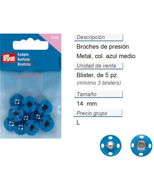 Broches de presión metal 14 mm azul medio CONT: 3 TAR de 5 p