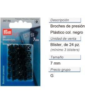 Broches de presión plást. 7 mm negro CONT: 5 TAR de 24 pz