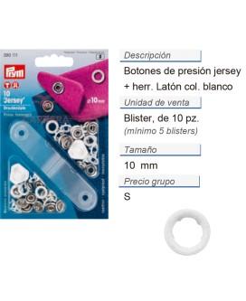 Botones pres. jersey 10 mm anillo bl. +herr. CONT: 5 TAR de