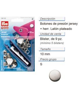 Botones pres. jersey 10 mm cal. plat. +herr. CONT: 5 TAR de