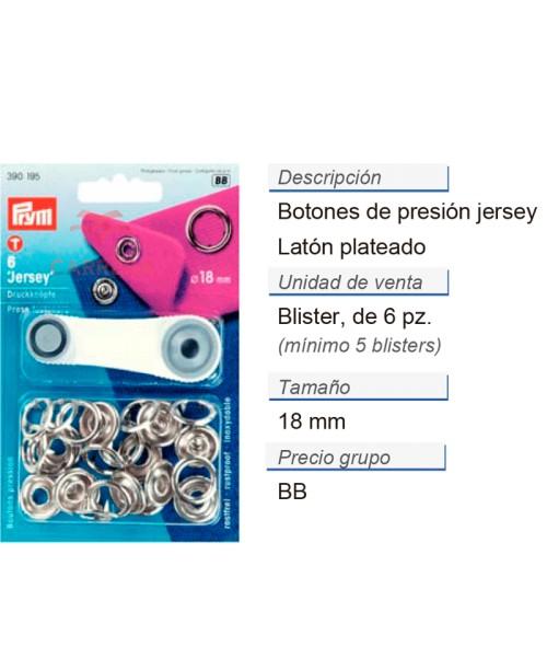 Botones pres. jersey 18 mm plateado CONT: 5 TAR de 6 pz