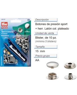 Botones pres. sport latón 15 mm plateado +herra. CONT: 5 TAR