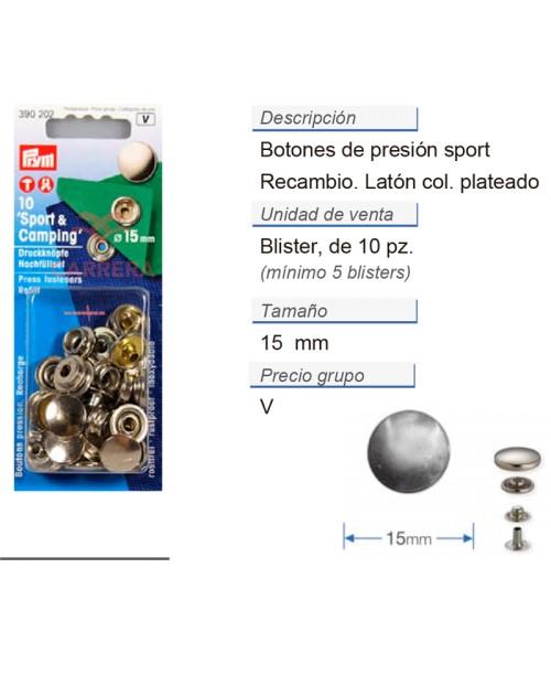 Botones pres. sport latón 15 mm plateado recambio CONT: 5 TA