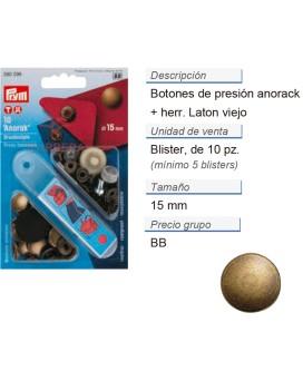 Botones pres. anorak latón 15 mm latón viejo +herr. CONT: 5