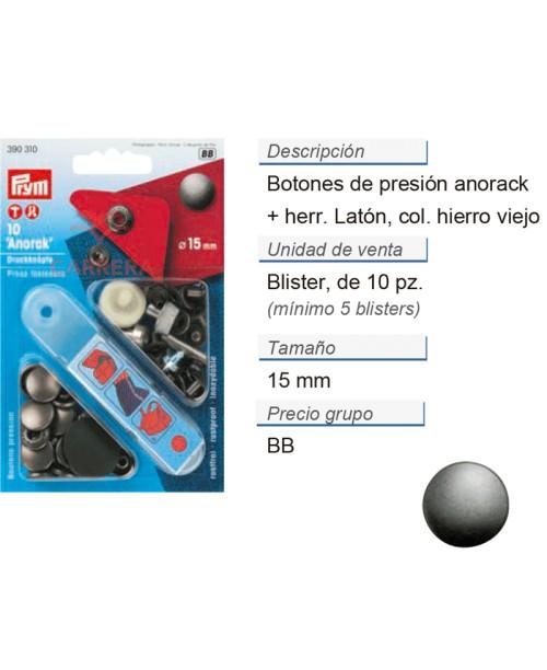 Botones pres. anorak latón 15 mm hierro viejo CONT: 5 TAR de