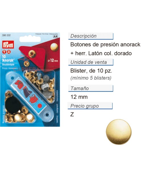 Botones pres. anorak latón 12 mm dorado +herr. CONT: 5 TAR d
