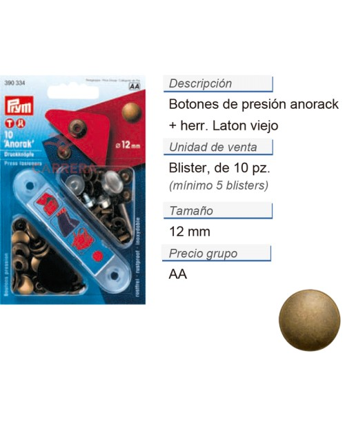 Botones pres. anorak latón 12 mm latón viejo +herr. CONT: 5