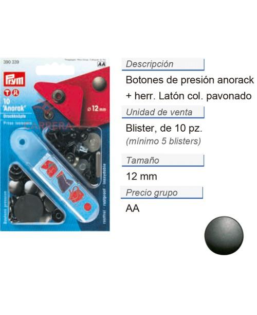 Botones pres. anorak latón 12 mm brun. +herr. CONT: 5 TAR de