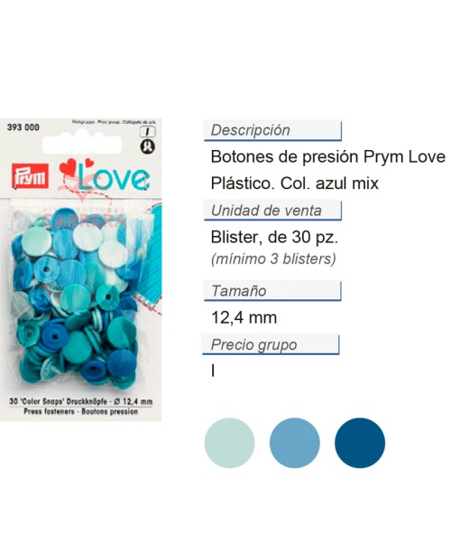 Prym Love Color Bot. pres. pl. 12,4mm azul CONT: 3 TAR de 30