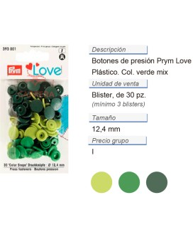Prym Love Color Bot. pres. pl. 12,4mm verde CONT: 3 TAR de 3