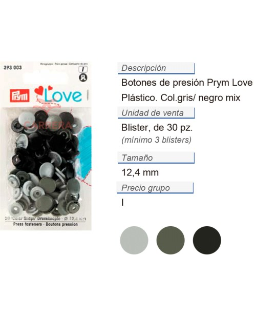Prym Love Color Bot. pres. pl. 12,4mm gris CONT: 3 TAR de 30