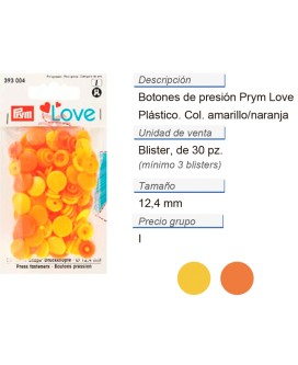 Prym Love Color Bot. pres. pl. 12,4mm amarillo CONT: 3 TAR d