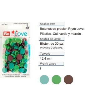 Prym Love Color Bot. pres. pl. 12,4mm verde/verde claro/marr