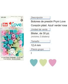 Prym Love Color Bot. pres. pl. Corazón 12,4mm rosa/vert/azul