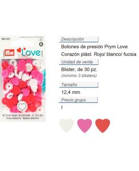 Prym Love Color Bot. pres. pl. Corazón 12,4mm rojo/blanco/fu