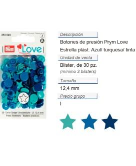 Prym Love Color Bot. pres. pl. Estrella 12,4mm azul/turqu./t