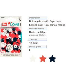 Prym Love Color Bot. pres. pl. Estrella 12,4mm rojo/blan./ma