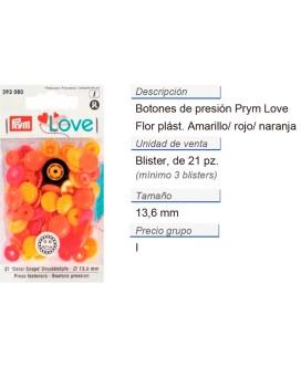Prym Love Color Bot. pres. pl. Flor 13,6mm amarillo/rojo/nar