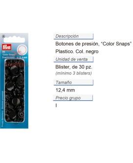 Botones pres. ColorSnaps 12,4 mm negro CONT: 5 TAR de 30 pz