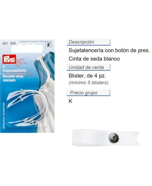 Sujeta-lencería, cinta de seda blanco CONT: 5 TAR de 4 pz