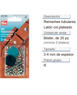 Remaches tubulares 3 - 4 mm plateado CONT: 5 TAR de 20 pz