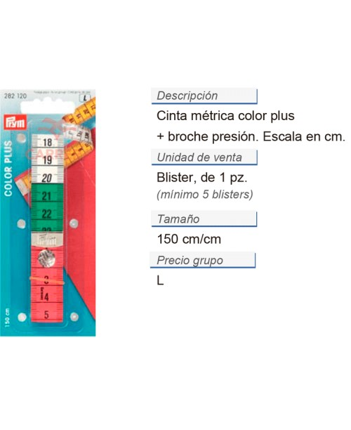 Cinta métrica color plus + broche presion 150 cm/cm CONT: 5