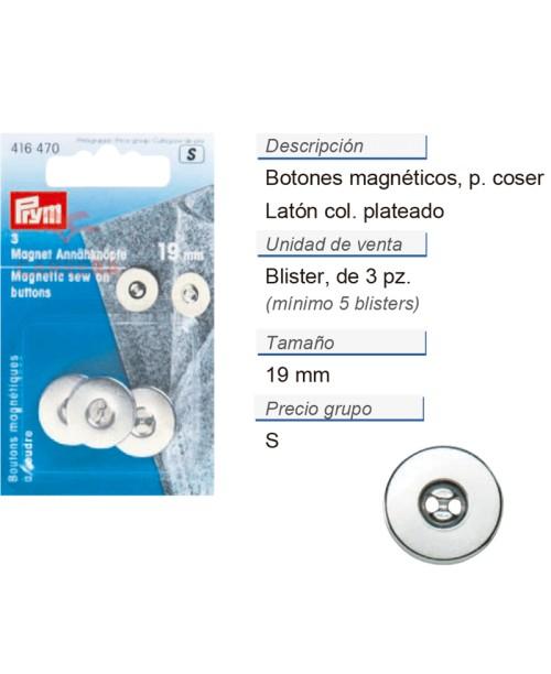 Botones magnetico p. coser 19 mm plateado CONT: 5 TAR de 3 p