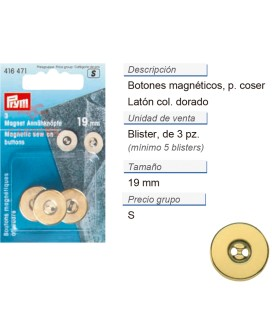 Botones magnetico p. coser 19 mm dorado CONT: 5 TAR de 3 pz