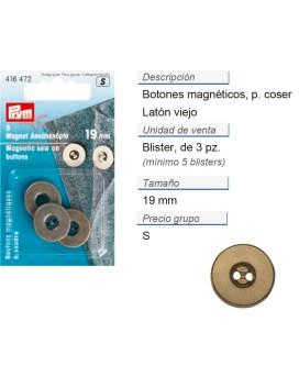 Botones magnetico p. coser 19 mm latón viejo CONT: 5 TAR de