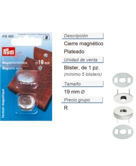 Cierres magnetico 19 mm plateado CONT: 5 TAR de 1 pz