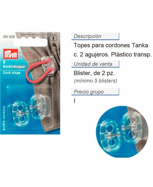 Topes cordones 2 agujeros transparente CONT: 5 TAR de 2 pz